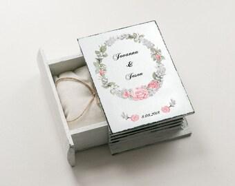 White Ring Box, Wedding Ring Box, Personalized Ring Bearer Box, Еngagement box, Proposal Box, Ring Holder, Custom Ring Box, Floral Ring Box