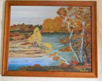 "Lilian Porter . Original Oil on Board "" Fish Creek in Fall "" Dorr County, Wisconsin"