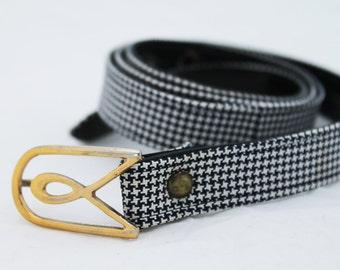 Belt- Vintage 1970s Houndstooth Adjustable Large Black and White