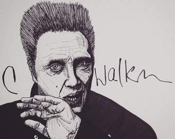 Christopher Walken 9x12 original ink line drawing portrait