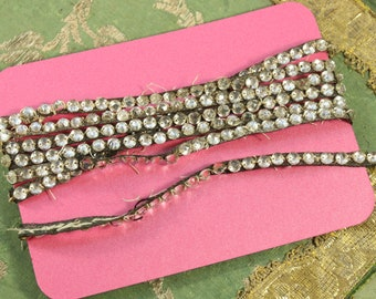 "1.8 yards Antique 1920s trim rhinestone 3/16"" applique trims glass on lame metal trim intricate Edwardian flapper dress millinery dolls"