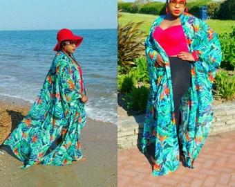 Beachwear swimwear cover up   kaftan duster cardigan