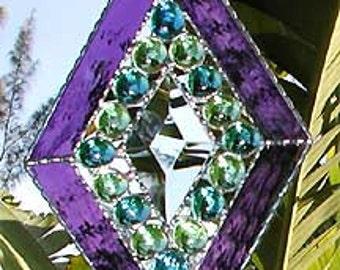 "Stained Glass Suncatcher - Sun-Catchers - Glass Nugget Stained Glass Sun Catcher - Glass Bevel, Handcrafted - 5 x 8""- 9706-PU"