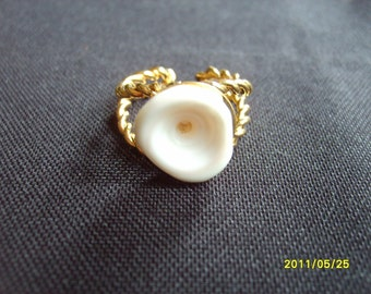Puka Shell, Ring, Hawaiian Jewelry, Puka Shell Ring, fashion funky hippie surfer costume ring