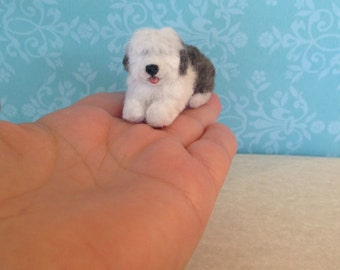 Miniature Old English Sheepdog, Dollhouse Old English Sheepdog, Handmade Sheepdog, 1 12 , Mini Sheepdog, Miniature animal, Dollhouse Animals