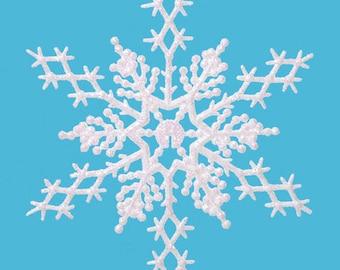 "6.5"" Glitter Snowflake Decoration - Pkg 24 - 4 Color Choices Available"