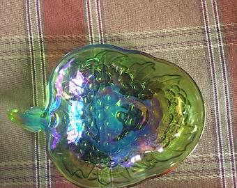 Carnival glass, iridescent grape bowl