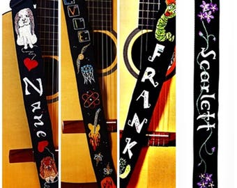 Personalized Custom Guitar Strap- Hand Embroidered  Monogram Name - Name and  OOAK Accent Music Strap- You Suggest, I Design