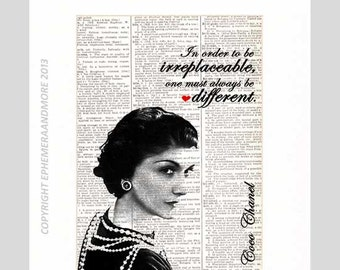 COCO CHANEL quote irreplaceable different art print wall decor motivational fashion women on upcycled vintage Dictionary Book Page 8x10, 5x7