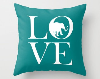 Elephant Throw Pillow Cover Teal White Decor Elephant Decor Elephant Pillow Home Decor Living Room Pillow Bedroom Pillow Couch Cushion