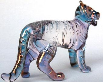 Tiger Figurine Hand Blown Glass Gold Crystal Sculpture
