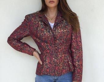 Gorgeous deisgner Leon Paule brocade peplum jacket