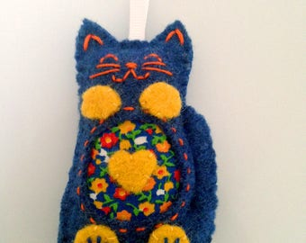 Blue Wool Plush Cat Ornament