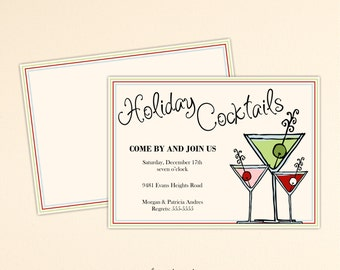 Christmas Party Invitation, Holiday Party, Xmas Cocktail Party, Holiday Open House, Holiday Birthday Party, Christmas Invite, C2005