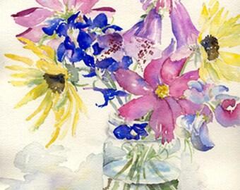 Garden Flowers Watercolor, Giclee Print of Original Watercolor