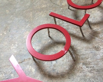 """SUPPLIES DECOR...Y O L O ~ Red ~ 5"""" industrial metal ~ sign ~ wall decor ~ steampunk ~ kitchen lounge ~rare find"""