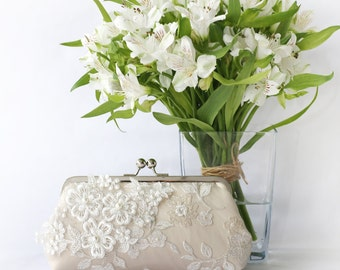 Bridal Clutch with Pearl Sakura Flower Vine Lace in Champagne