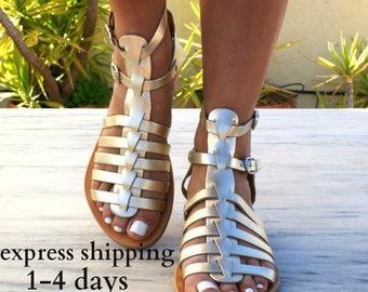 ERATO 3 sandales / grec sandales en cuir / sandales gladiateur / antique grecques sandales / main sandales grecs / romain sandales / or sandales