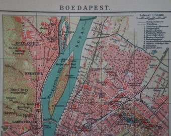 "BUDAPEST map 1915 old antique city plan about Budapest Hungary vintage maps Будапеща старата карта plattegrond Stadtplan von - 16x25c 6x10"""