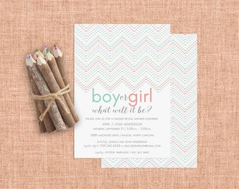 Gender Reveal Invitation, Gender Reveal Party, Boy or Girl Invitation, He or She Invitations, Pink or Blue Baby Reveal Shower Invitations