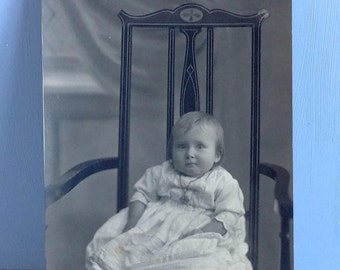 Vintage Postcard Baby on Chair Real Photo Postcard Unposted
