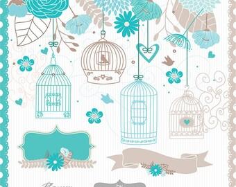 Bird cage flower clipart, flower clipart, wedding clipart, wedding invitation, Hand Drawn Mason Jars, teal, beige