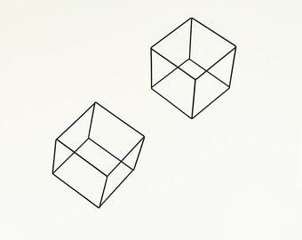 Ahoj-2012 Wire object, cube, cube, black, 1pc. Geometry, geometric Deco object, metal, wire, hanger, living accessory