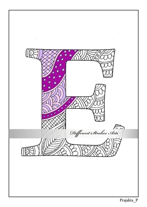 Malvorlagen Buchstaben Zentangle Alphabet E Farbe für