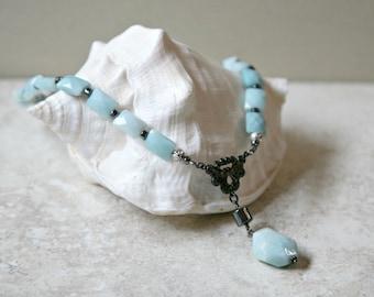 Facettierten Amazonit, Hämatit und Gunmetal Ozean Blau Halskette