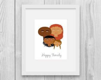 Custom Portrait, Family Tree Illustration, Custom Family Tree, Family Tree Alternative, Afro American, Mothers Day