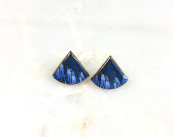 Vintage Blue Ceramic Stud Earrings