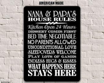 Nana and Papa Gifts, Nana and Papa Rules, Grandparents Sign, Grandparents Gift, Nana and Papa Gift, Personalized House Rules Sign Gift SPH1