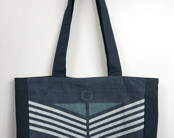 Canvas Tote Bag- Blue with White and Gray