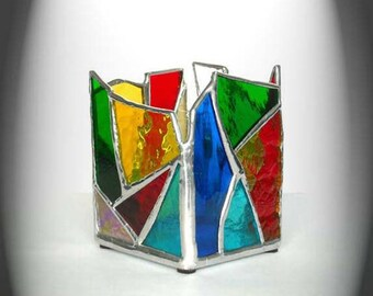 Multi-Colored Stained Glass Candle Holder