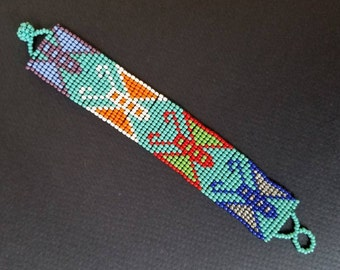 Gift for him, Gift for her, mens bracelet, Seed Bead bracelet, Tribal bracelet, huichol bracelet, native american bracelet, loom bracelet