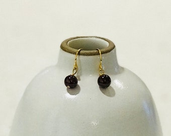 Garnet Earrings - Silver and Gold