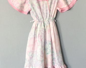 Vintage Girls Floral Print Dress