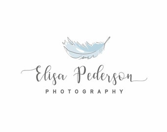 Feather Logo, Photography logo, Bohemian logo, Feminine logo design, Boutique logo design, Blue logo, Hand drawn logo , Logo design, Paper