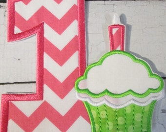 Ready To Ship FAST - First Birthday Number and Cupcake - Iron On or Sew On Embroidered Applique