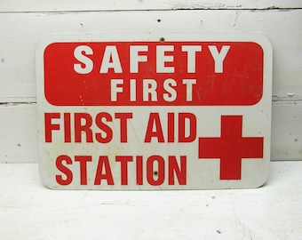 Metal First Aid Sign Bar Man Cave Decor Used Shabby Sign Emergency Medical Red Cross