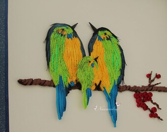 Made to Order Paper Quilling Bird Family Wall Art, Family of three , Handmade Paper Quilled Birds on a cherry branch,Anniversary gift