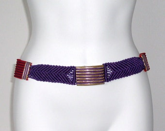 1970's Belt Vintage Colorful Macrame Cinch Hip Hugger Rope Colorful Reds and Purples  Gutos Buckle 1970s 30 Inch