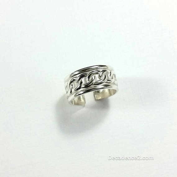 Wide Chain Link Grecian Sterling Silver Toe Ring in Polished Sterling or Oxidized Sterling