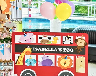 DIGITAL FILE Animals Riding a Red Bus, Large Standee Decoration, Zoo Birthday, Zoo Animals Theme Party Decor