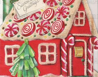 Candy Gingerbread House Seasons Greetings Christmas Card #543 Digital Download