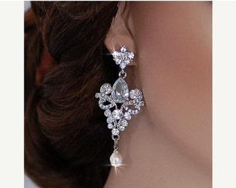 Bridal Party Earrings CZ Swarovski Crystal Dangle Wedding Zircon Brides Gift Accessory Accessories Zirconia Jewelry Drop Bride Weddings 102