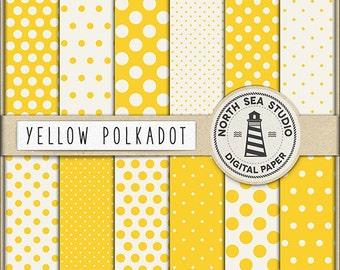 YELLOW SUN, Polkadot Digital Paper Yellow Polkadot Paper Yellow Backgrounds Digital Scrapbooking 12 Jpg 300 Dpi Files Download, BUY5FOR8