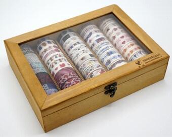 Wooden Washi tape Storage Case / Masking Tape Organizer / Washi Tape Holder/Storage Box Cosmetic Case TZ1282
