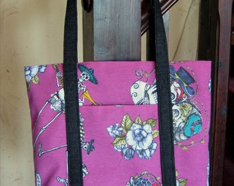 Black denim and cerise Day of the Dead tote bag with pockets
