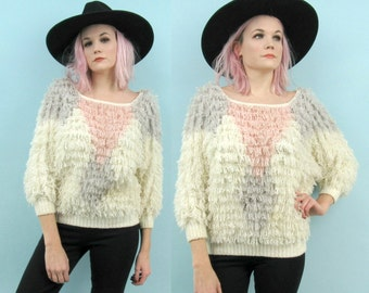 80s Shaggy Knit Sweater, Vintage Oversized Size Small to Medium, White Pink Grey, Dolman Sleeves, 90s, Loop Knit, Pastel, Club Kid, 70s